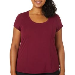 Yogatech Plus Solid Brushed Basic Scoop Neck Top