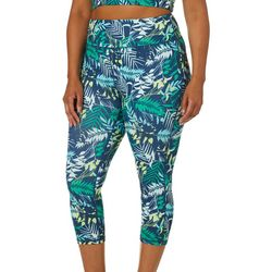Yogatech Plus Tropical Palm Printed Stretch Capris