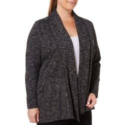 Spalding Plus Heathered Open Front Cardigan