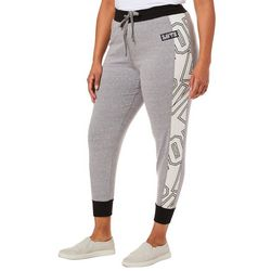 Inspired Hearts Juniors Plus Love Side Striped Jogger Pants