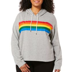 Inspired Hearts Juniors Plus Striped Hooded Sweatshirt