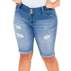 Juniors Plus Roll Cuff Denim Bermuda Shorts