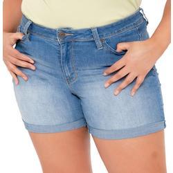 Juniors Plus WBB Roll Cuff Denim Shorts