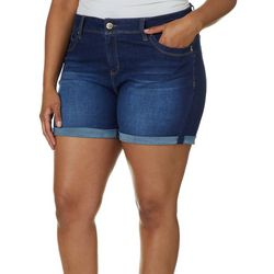 Royalty by YMI Juniors Plus Denim Roll Cuff Shorts
