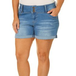 Royalty by YMI Plus WBB Mid-Rise Denim Roll Cuff Shorts