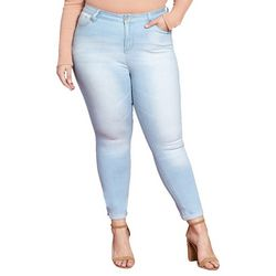 YMI Juniors Plus Faded Roll Cuff Ankle Jeans
