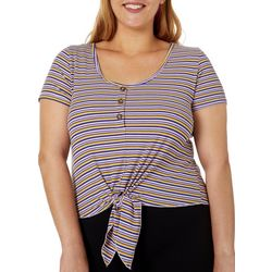 Eye Candy Juniors Plus Ribbed Striped Tie Front Top