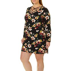 Eye Candy Juniors Plus Floral Print Cage Neck Dress