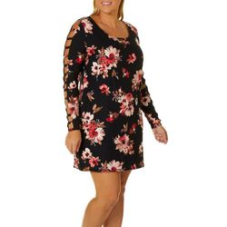 Eye Candy Juniors Plus Floral Print Ladder Sleeve Dress