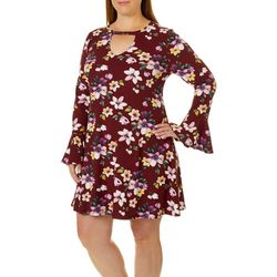 Eye Candy Juniors Plus Floral Print Flare Sleeve Dress