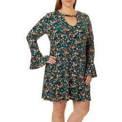 Eye Candy Juniors Plus Ditsy Floral Print Flare Sleeve Dress