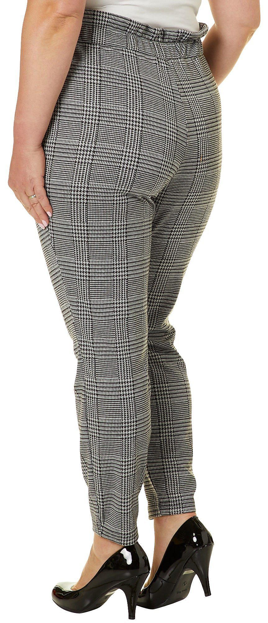 692e5b35113 Eye Candy Juniors Plus Belted Houndstooth Print Soft Pants