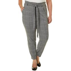 Eye Candy Juniors Plus Belted Houndstooth Print Soft Pants