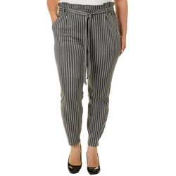 Eye Candy Juniors Plus Belted Striped Soft Pants