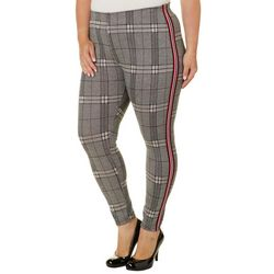 Eye Candy Juniors Plus Plaid Athletic Striped Leggings