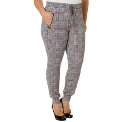 Eye Candy Juniors Plus Houndstooth Print Jogger Pants