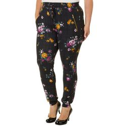 Eye Candy Juniors Plus Striped Floral Jogger Pants