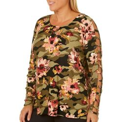 Eye Candy Juniors Plus Floral Camo Caged Sleeve Top