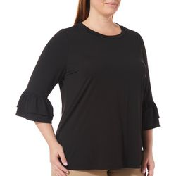 Eye Candy Plus Ruffle Bell Sleeve Top