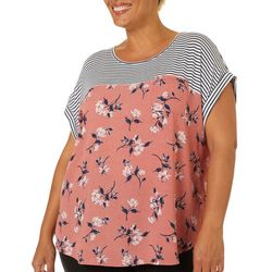 Rewind Juniors Plus Stripes Floral Pocket Top