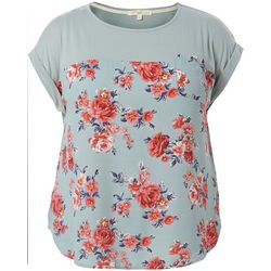 Rewind Juniors Plus Solid Floral Print Pocket Top