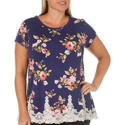 Rewind Plus Floral Print Lace Hem Top