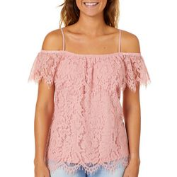Miss Chievous Juniors Floral Lace Cold Shoulder Top