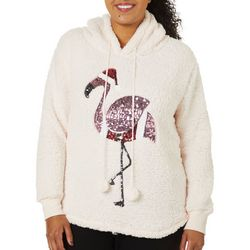 Miss Chievous Juniors Plus Embellished Flamingo Sweater