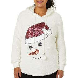 Miss Chievous Juniors Plus Embellished Snowman Sweater