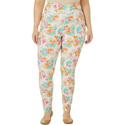 Hot Kiss Juniors Plus Tropical Floral Print Leggings