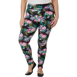 Hot Kiss Juniors Plus Palm Floral Print Leggings