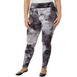 Hot Kiss Juniors Plus Black Tie Dye Print Leggings