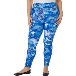 Hot Kiss Juniors Plus Blue Splatter Tie Dye Leggings