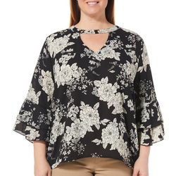 Liberty Love Juniors Plus Floral Ruffle Sleeve Keyhole Top