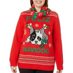 Self Esteem Juniors Plus Feliz Navidog Holiday Sweater