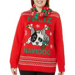 Self Esteem Juniors Plus Feliz Navidog Holiday Sweater