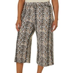No Comment Juniors Plus Snakeskin Belted Wide Leg Pants