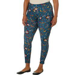 No Comment Juniors Plus Mixed Floral Print Leggings