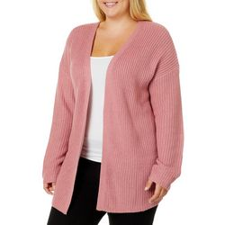 Derek Heart Juniors Plus Lace-Up Back Knit Cardigan