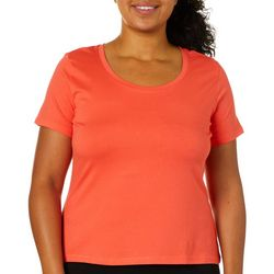 Aveto Juniors Plus Solid Scoop Neck Cropped T-Shirt