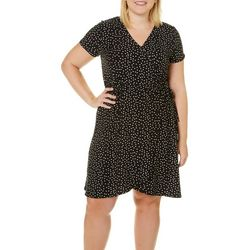 Derek Heart Juniors Plus Polka Dot Faux-Wrap Dress