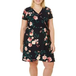 Derek Heart Juniors Plus Rose Print Faux-Wrap Dress