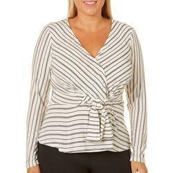 Derek Heart Juniors Plus Striped Peplum Top