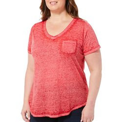 Derek Heart Juniors Plus Solid V-Neck Pocket T-Shirt