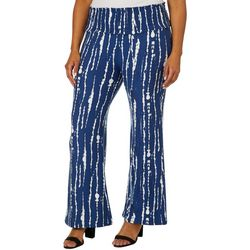 Derek Heart Juniors Plus Tie Dye Striped Flare Pants