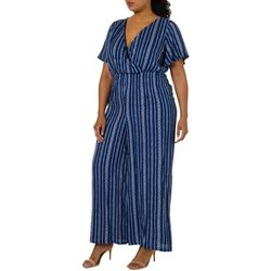 Derek Heart Juniors Plus Striped Wide Leg Jumpsuit