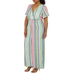 Derek Heart Juniors Plus Multi Striped Jumpsuit