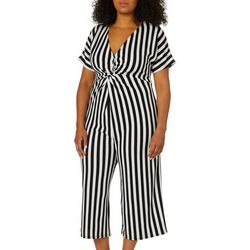 Derek Heart Juniors Plus Striped Capri Jumpsuit