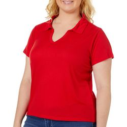 Derek Heart Juniors Plus Ribbed Split Neck Top