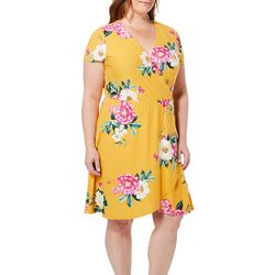 Derek Heart Juniors Plus Tropical Floral Faux-Wrap Dress